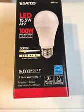 Satco S28786 15.5W =100W Non-Dimmable 1600 Lumen A19 LED 30K Warm White E26