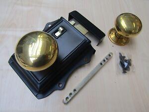 OLD RETRO VICTORIAN BEDROOM BATHROOM  RIM DOOR LOCK + RIM DOOR KNOB SET