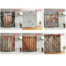 Rustic Wooden Barn Door Western Shower Curtain Bathroom Curtain Waterproof