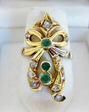 Antique 18K Gold Emerald Ring with 3 Emeralds & 13 Old Diamonds (5.8g, size 7.5)