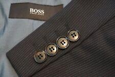 Hugo Boss Rossellini/Movie Black Pinstriped 100% Wool 2 Pc Suit Jacket Pants 36S