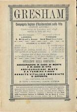 Stampa antica pubblicità ASSICURAZIONI GRESHAM 1889 Old antique print