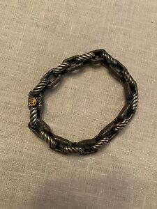 "Mens David Yurman Textured Empire Bracelet Sterling Silver & Gold 8"""