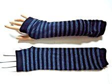 GRAY BLACK STRIPED ARM WARMERS knit fingerless gloves goth punk EGL stripey Y1