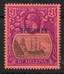 ST.HELENA SG96s 1922 £1 GREY & PURPLE ON RED MTD MINT SPECIMEN