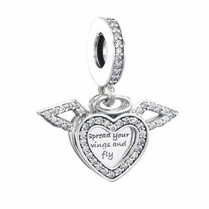 New Pandora Heart And Angel Wings S925 Ale Charm UK
