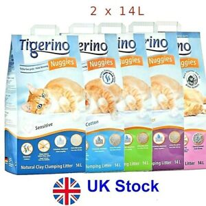 Tigerino Nuggies Cat  100% Natural Clay Clumping  Litter  Economy Pack: 2 x 14L
