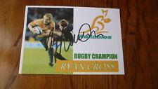 Australian Wallabies Rugby Great Ryan Cross Hand Signed Souvenir Cover