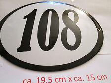 Hausnummer Oval Emaille  schwarze Nr. 108  weißer Hintergrund 19 cm x 15 cm