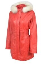 Ladies Hooded Trench Leather Jacket Red Real Nappa Leather Casual Style Design