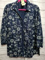 Cato Womens Plus Size 18/20W Button Up Front Long Sleeve Blue Floral Top Blouse