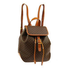 CELINE Macadam Backpack Hand Bag MC96* Purse Brown PVC Leather Vintage A46656g