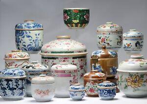 Antique 18th c Collection of Chinese Porcelain Tea Jars China Kangxi Yongzhen...
