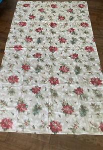 """Beautiful Ivory Red Green Poinsettia Tablecloth Holiday Decor 100"""" X 59"""""""