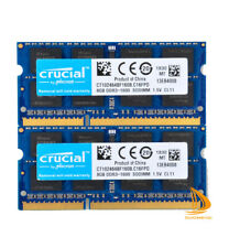 Crucial 2x 8GB 2Rx8 PC3-12800S DDR3-1600Mhz SODIMM Laptop Memory RAM 204Pin 16GB