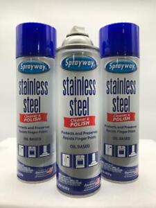 3-PACK -Sprayway SW148R Water-Based Stainless Steel Cleaner, 15 oz.
