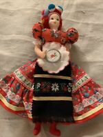 """11.5"""" Scandinavian Doll, Hand Painted Face, Festive Apparel, Embroidery Hoop"""