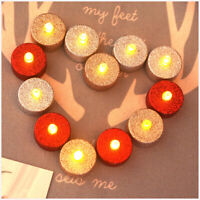 12PCS Flameless Electric Candle Flickering LED Tea Light Glitter Candle Lamp