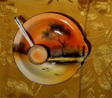 VINTAGE NORITAKE 1-HANDLED BOWL + LADLE SWAN LAKE TREE SUNSET HANDPAINTED JAPAN