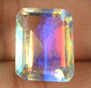 9.70 Ct 100% Natural Rainbow Mystic Topaz Gemstone Emerald Cut Certified A66178