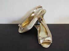 Fab SHOE TAILOR Gold Satin Look Peep Toe Sling Back High Heel Shoes UK 6E BNWOB