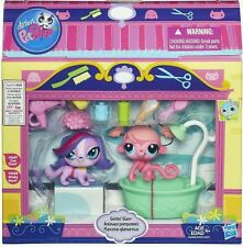 NEW Littlest Pet Shop Gettin' Glam Set Zoe 3607 & Minka 3608 Bath Time Gift NIB