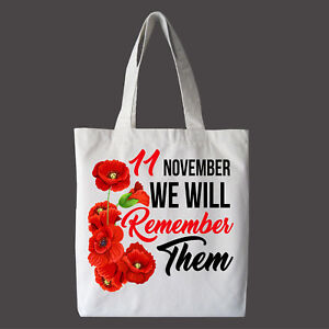 REMEMBRANCE DAY LEST WE FORGET POPPY Shopping Bags / Tote Bags, Soft Fabric