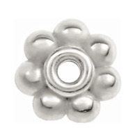 4mm 14K SOLID White Gold Milgrain Floral Bali Bead Spacer Roundel USA MADE