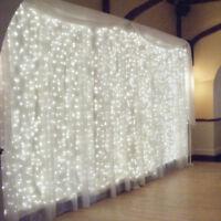 300 LED Curtain Fairy Lights Indoor/Outdoor Wedding Party Christmas Garden Decor
