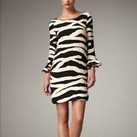 $425 KATE SPADE ANDORA ZEBRA PRINT BLACK CREAM SILK SHIFT DRESS SZ 4 ANIMAL