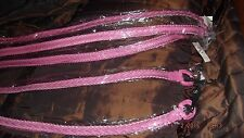attractive woman's belt, leather look plaited effect, pink, choice of size, new