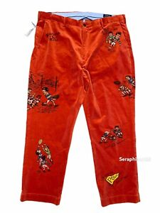 Polo Ralph Lauren 40x30 Mens Corduroy Rugby Pants Classic Fit Orange NWT