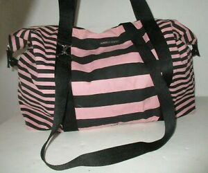 Victoria's Secret Pink and Black Stripe Weekender Duffle Beach Anytime Bag