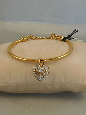 Juicy Couture Goldtone PAVE' HEART Slider Bangle Bracelet WJW397 710 $68