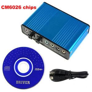 USB 6 Channel 5.1 External Optical Audio Sound Card S/PDIF Laptop PC CM6206