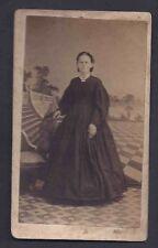 Ca CIVIL WAR CARTE DE VISITE WOMAN IN BLACK DRESS 2 1/2 X 4, W/2c BLUE, ETC