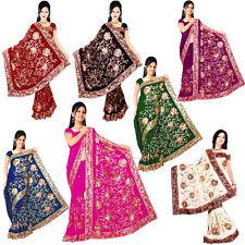 Wholesale Job Lot of 4 Saree Wedding Bollywood Sequin Embroidery Sari Indian Z4
