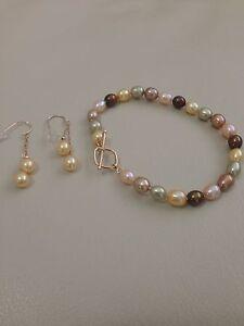 Honora Freshwater Cultured Pearl 14k Bracelet And Earrings