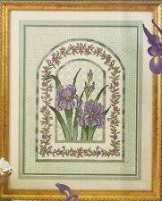"Elsa Williams Heritage ""Iris Mosaic"" Floral Flowers Counted Cross Stitch Kit"