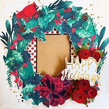 Handmade HAPPY HOLIDAYS Christmas Wreath 12x12 Premade Scrapbook Layout Page