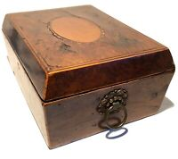ANTIQUE 19TH CENTURY HAND CRAFTED INLAY LOCK WOOD BOX CADDY HUMADOR