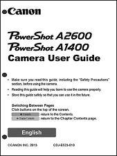 Canon Powershot A1400 A2600 Digital Camera User Guide Instruction  Manual