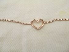 Rose Gold Rhinestone Studded 7 Inch Chain Bracelet with Rhinestone Heart