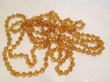 collier sautoir bijou ancien perle de verre citrine à facette 1.65cm 3688