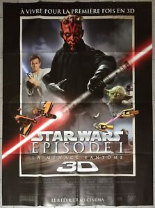 Poster Star Wars The Menace Ghost 3D Liam Neeson George Lucas 47 3/16x63in
