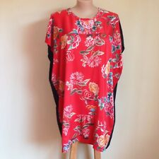 Japanese flower print silk Plus size kaftan dress 100% Silk peach skin Easy fit