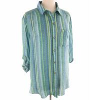 ZAC & RACHEL Blue Green Striped Tab Sleeve Blouse Women's 2X