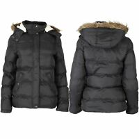 Womens Ladies Zip Up Quilted Padded Faux Fur Hooded Pockets Coat Parka Jacket