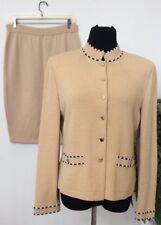 St John Collection By Maria Gray Beige Wool Blend 3 Piece Skirt Suit Sz 10  EUC!