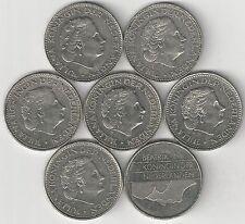 7 - 1 GULDEN COINS..the NETHERLANDS..1967, 1969, 1971, 1972, 1977, 1980 & 1997